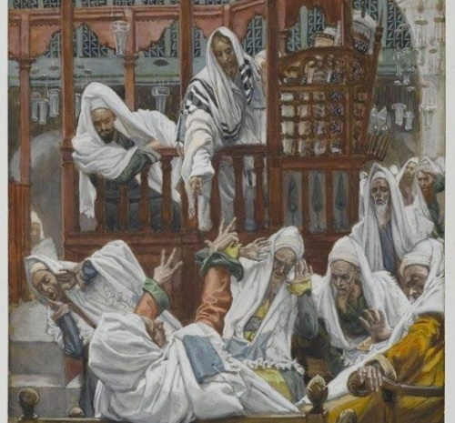 A demoniac in the synagogue by James Tissot 1836-1902