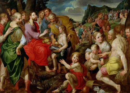 Feeding of the Five Thousand by Ambrosius Francken the Elder (1544-1618)