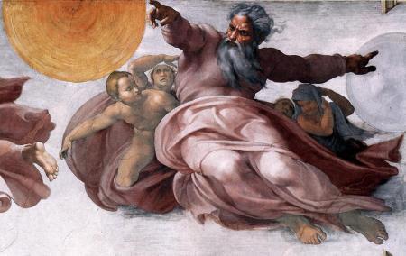 God creates the sun and moon, Michelangelo - Sistine Chapel, 1508-1512
